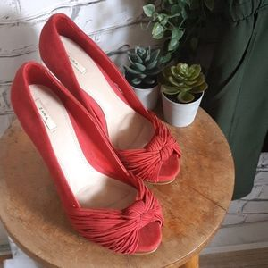 Zara Red Faux Suede Heels
